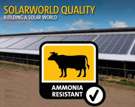 SolarWorld PV Panels has Ammonia Resistance - ideal for farms or agriculture